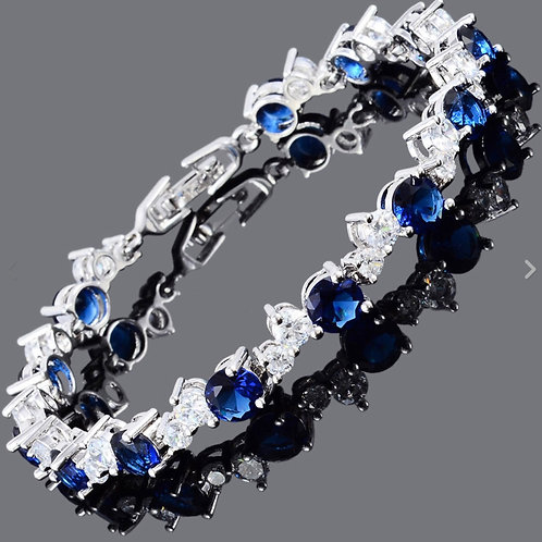 18K White Gold Filled Sapphire/White Crystal Bracelet