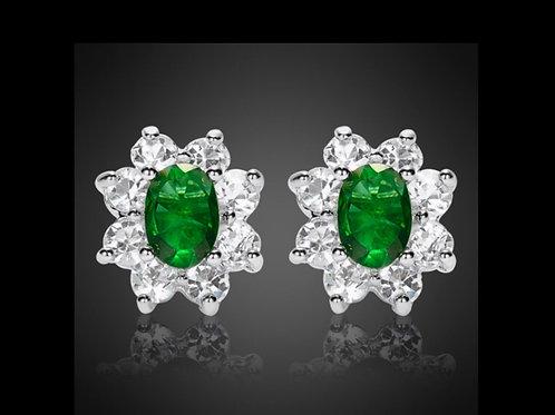 18K White Gold Filled Emerald and White Crystal Flower Earrings
