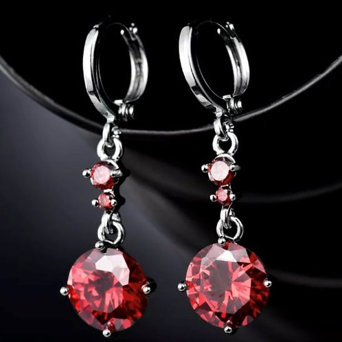 18K White Gold Filled Red Crystal Drop Earrings