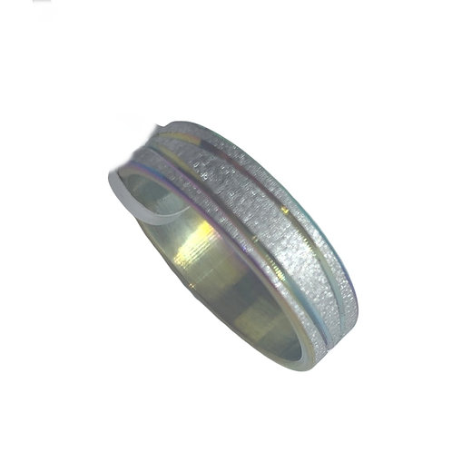 Stainless Steel Brushed Chrome Multicolour 5mm Ring
