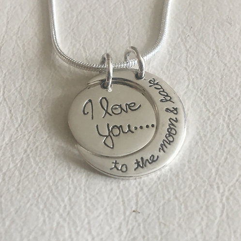 Two Piece Sterling Silver I Love You to the Moon and Back on 1mm Silver Chain