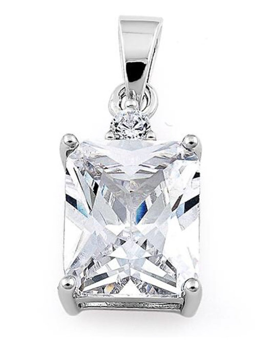Sterling Silver Rectangular CZ Pendant on a 1mm silver chain