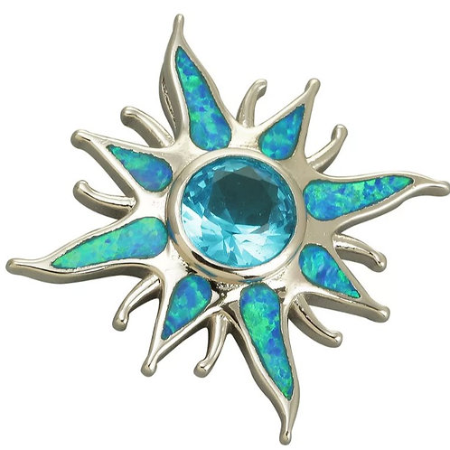 Sterling Silver Blue Fire Opal Sunburst Pendant on a 1mm Sterling Silver Chain