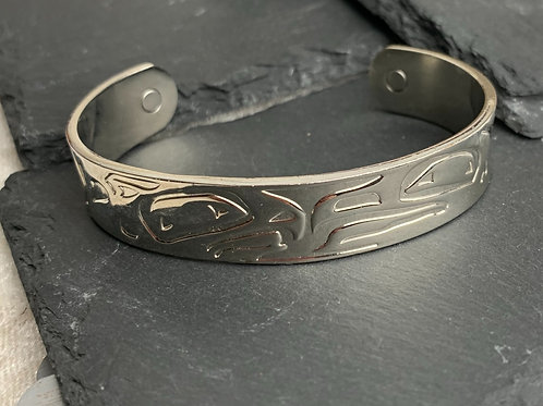 SOLID STAINLESS STEEL MAGNETIC THERAPY BANGLE