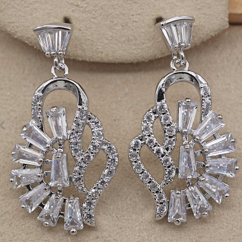 18K White Gold Filled Crystal Art Deco Drop Earrings