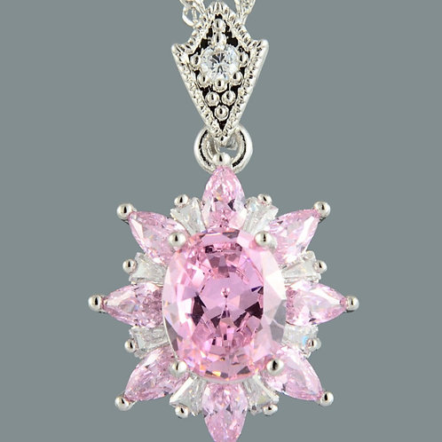 18K White Gold Filled Pink and White Crystal Pendant and Chain