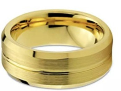 Tungsten Carbide Gold Grooved Ring