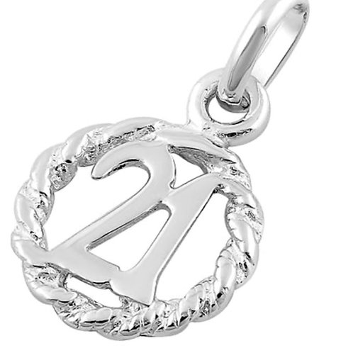 Sterling Silver 21st Birthday Pendant on a 1mm Sterling Silver Chain