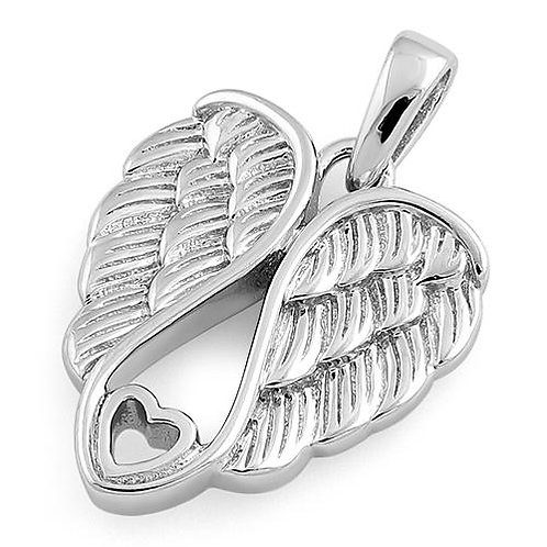 Sterling Silver Angel Wings Pendant on Sterling Silver Chain