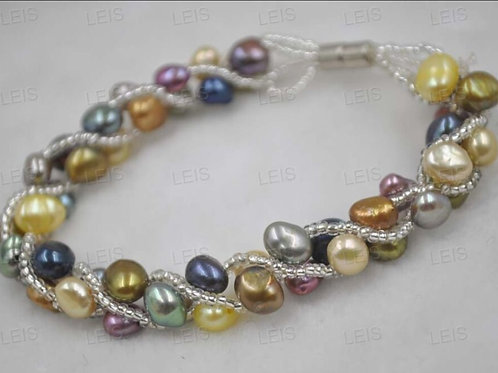 Multicolour Freshwater Pearl Twisted Magnetic Bracelet