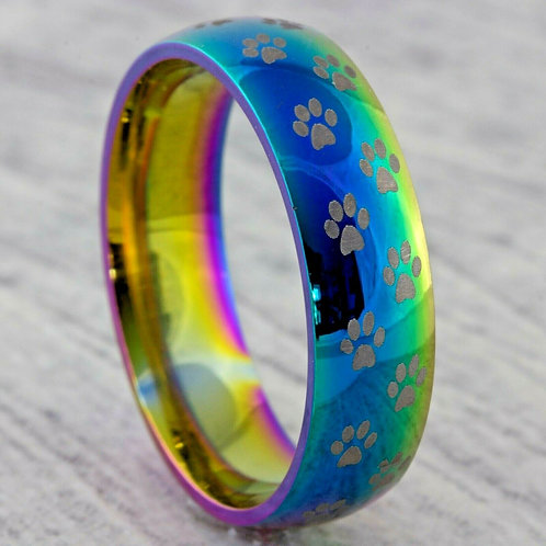 Stainless Steel Multi-coloured Paw Rings 8mm Wide