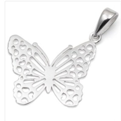 Sterling Silver Filigree Butterfly Pendant on a 1mm Silver Chain