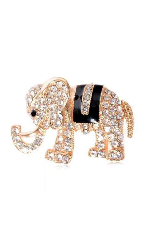 Gold Plated/Enamel Rhinestone Elephant Brooch