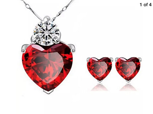 Gold Plated Red Heart Crystal Pendant Earring Set