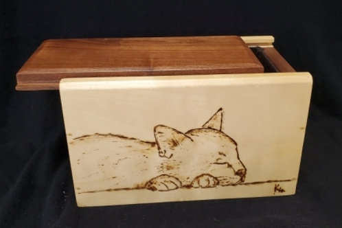Cat Box - Wood Box with Woodburning (Pyrographics)