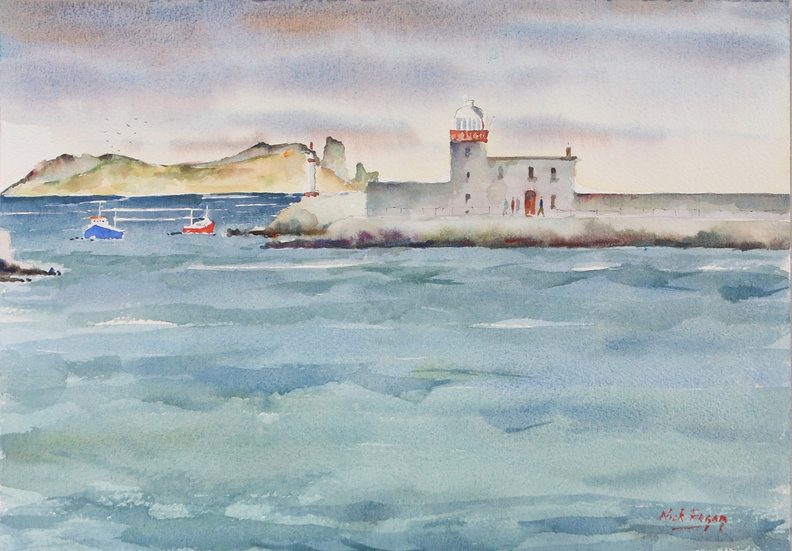 'Howth Harbour in Rough Sea'