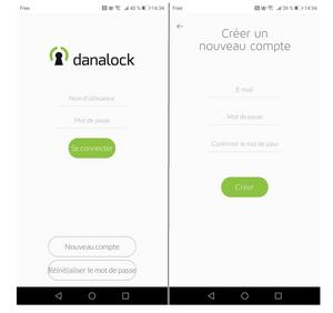 Danalock  v3 nouveau compte