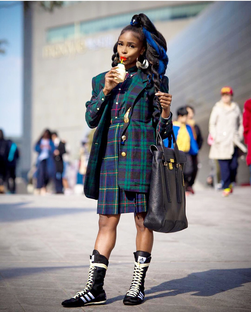 Kpop Style Star TELISU In Ralph Lauren Blackwatch Plaid At Seoul Fashion Week