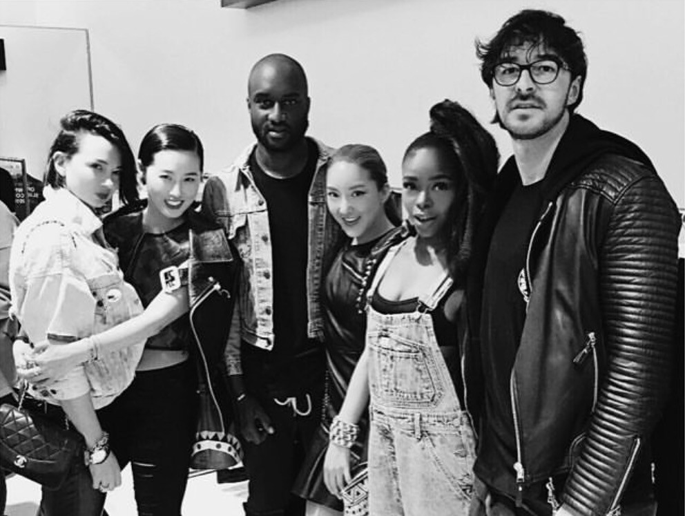Kpop Style Star TELISU With Virgil Abloh, New Guards Group Giulia Zag & Andrea Grilli And Creative Director Beau Hemm At Off-White Launch At Boon The Shop