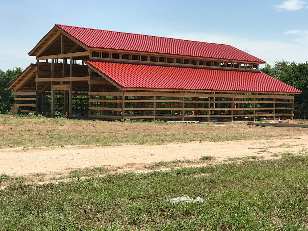 Here's a pic of our latest barn progress. Don't you love the roof?!?