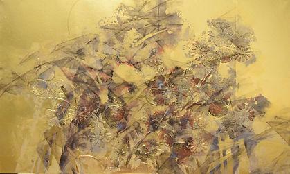 小形栞、煌々と燃える、2021、M8(275×455mm)、日本画、64,000