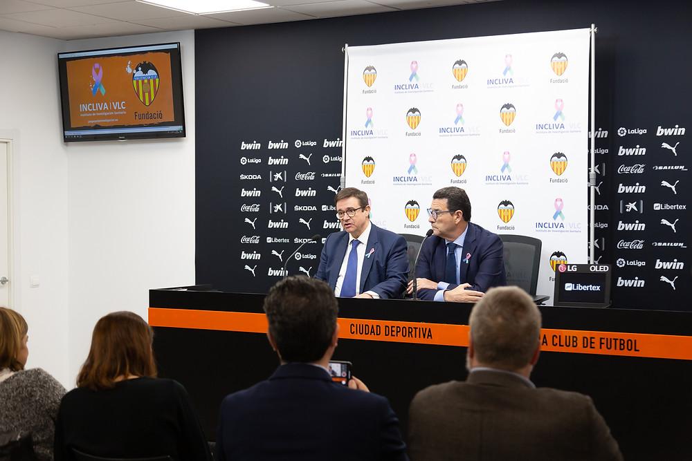 Presentación del convenio de colaboración firmado entre INCLIVA y la Fundación del Valencia CF