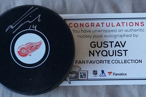Gustav Nyquist Red Wings Detroit Autographed Puck