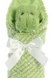 """Ebba Baby Little Pitter Pattern Pup Rattle 8.5""""& Swaddle Blanket 18"""""""