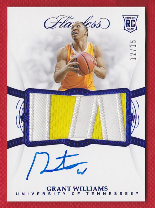 2019 Panini Flawless Collegiate Grant Williams Rookie Patch Auto 12/15