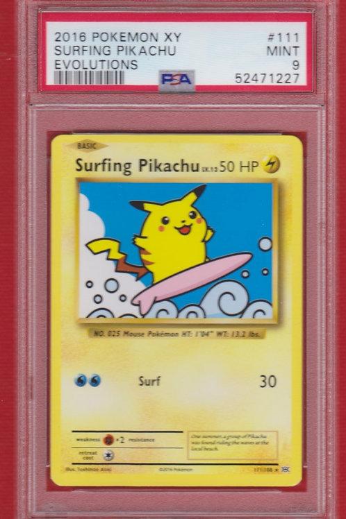 2016 Pokemon XY Evolutions Surfing Pikachu #111 PSA 9
