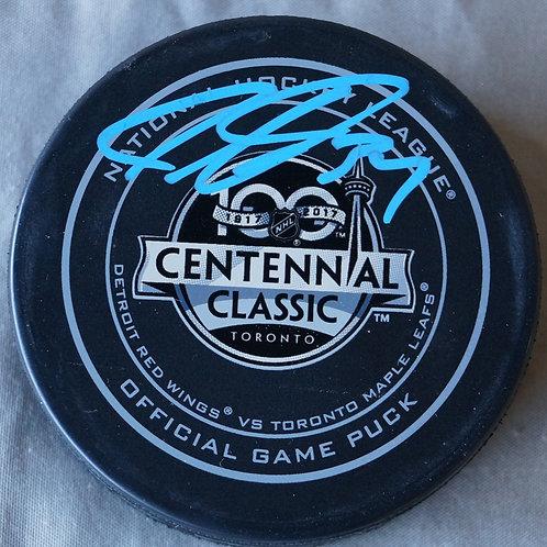 Auston Matthews Centennial Classic Autographed Puck