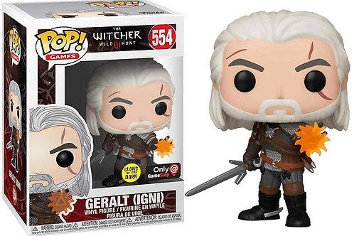 Geralt Igni Funko Pop! The Witcher Wild Hunt #554 Glows In The Dark Eb Games Exc