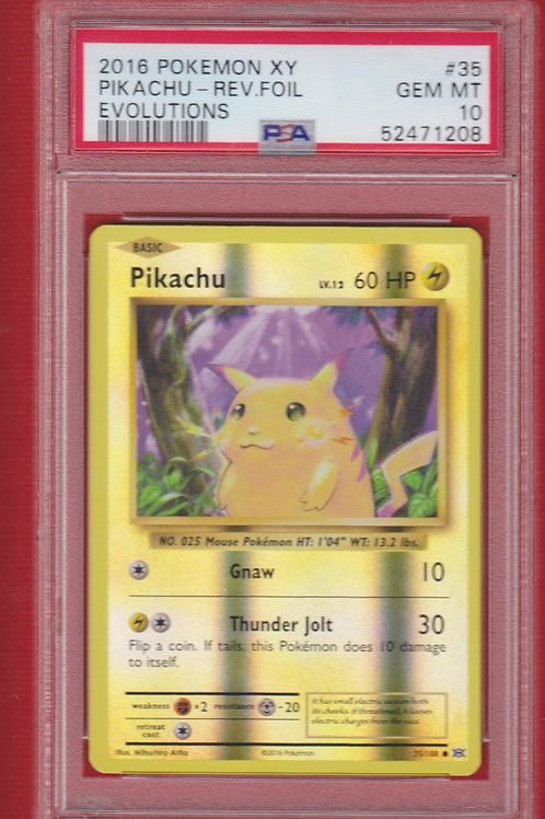2016 Pokemon XY Evolutions Pikachu Reverse Foil #35   PSA 10