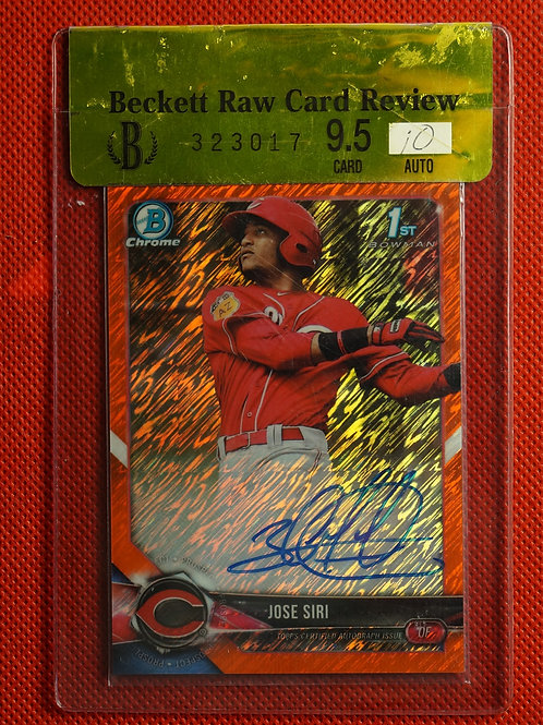 2019 Bowman Chrome Orange Shimmer Refractor Auto Jose Siri #CPAJS 2/25 Raw9.5