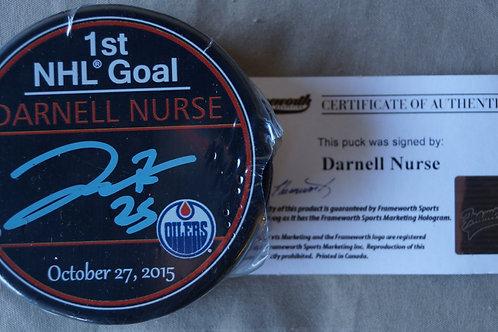 Darnell Nurse Edmonton Oilers 1st Nhl Goal Autographed Puck