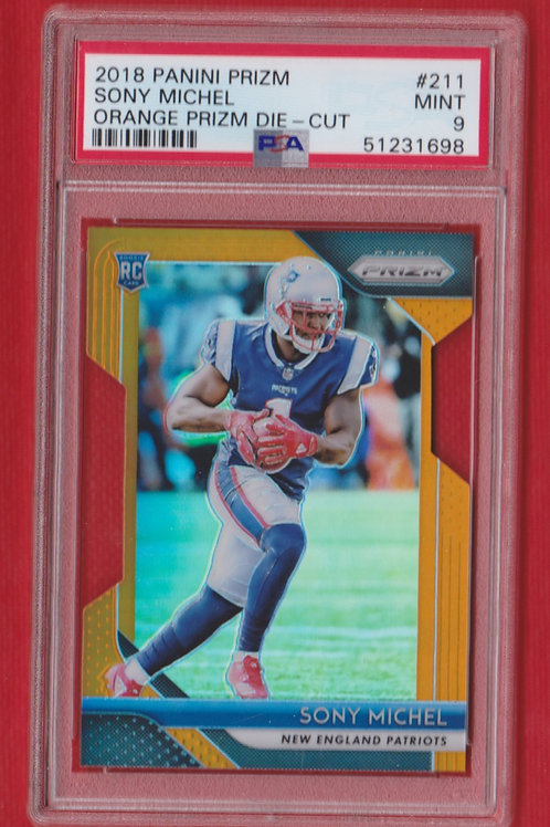 2018 Panini Prizm Orange Die-Cut Sony Michel Rookie #211  217/249   PSA 9