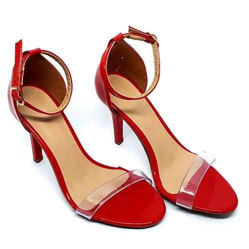 Sandália Vermelha com Vinil