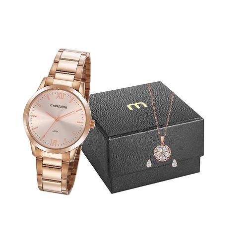 Kit Relógio Numerais Romanos Rosé
