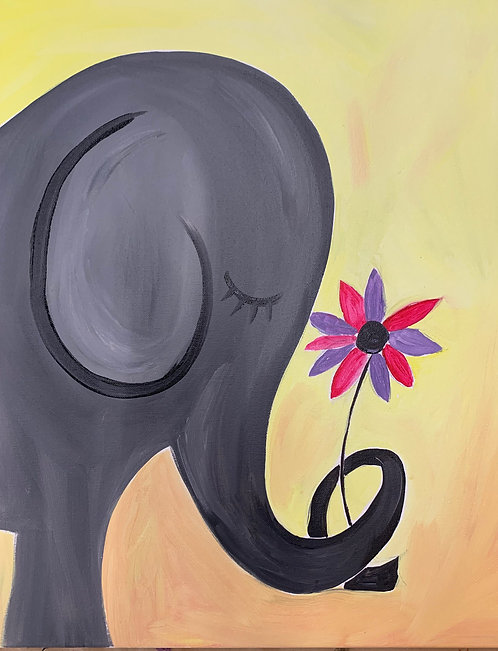 Ellie the elephant Pre-Stenciled Canvas
