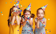happy birthday children girls with confe