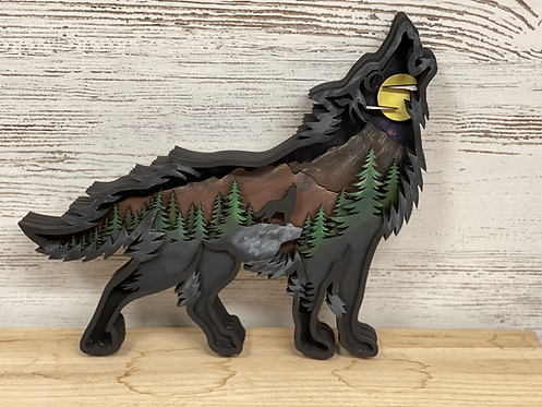 DIY Kit- Howling Wolf Wood Sign