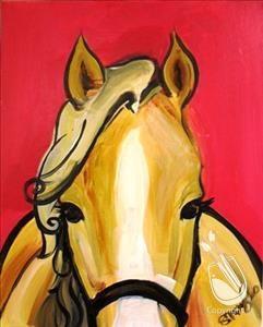 Horse Pre-Stenciled Canvas panel