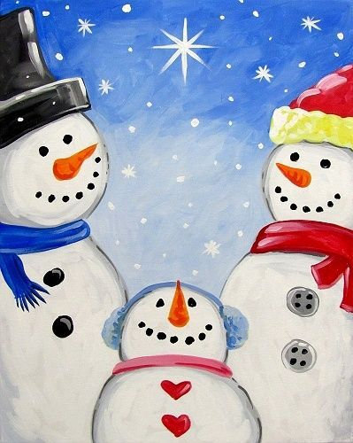 Pre-Stenciled Canvas Snowman Family