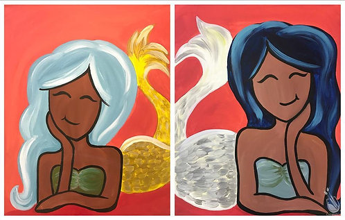 Mermaid Friends- 2 Canvases