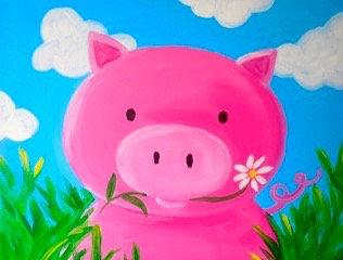 Petunia the Pig Pre-Stenciled Canvas panel