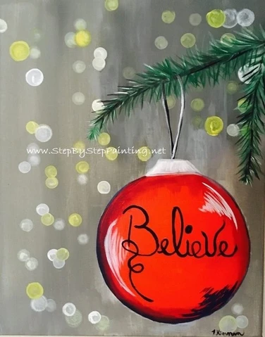 Pre-Stenciled Canvas-Believe Ball