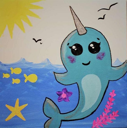 Nolly the Narwhal Pre-Stenciled Canvas Panel