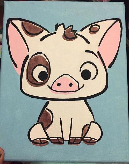 Pua the Pig pre-Stenciled Canvas Panel