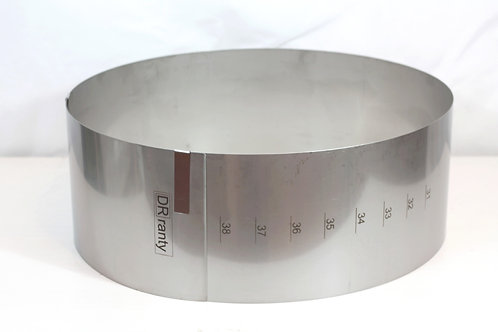 Round cake ring, 14cm high, 31cm - 42cm base with gauge