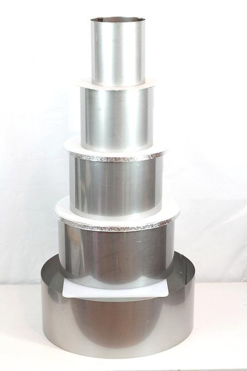 Full set of 5 round cake rings, 14cm high, adjustable